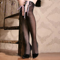 Girls Cross Straps Black Stockings