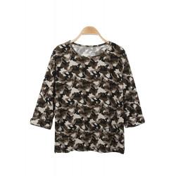 Grøn O-Neck Half Sleeve Camouflage Print Loose T-Shirt