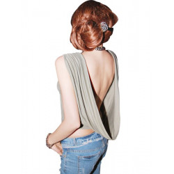 Halter Neck Drape T-Shirt Women Sleeveless Casual Tops Vest Clubwear