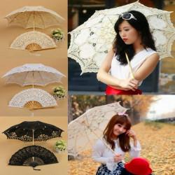 Handgjord Bomull Spets Parasol Umbrella och Hand Fan Party Bröllop Decor
