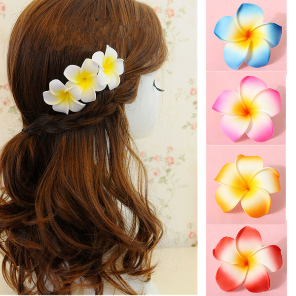 Hawaiian Plumeria Frangipani Artificial Silk Flower Heads Decoration Women's Clothing