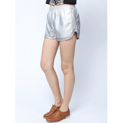 Hot Casual Hollow Out Elastic PU Shorts