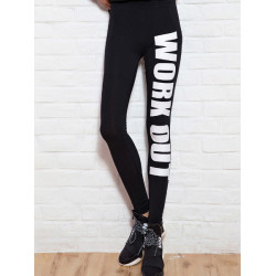 Hot Kvinna Harajuku Design Gun Letters Printed Byxor Leggings