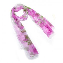 Bläck och Wash Stil Blommor Print Georgette Halsduk