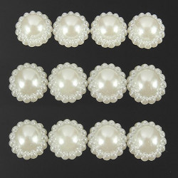 Ivory White Acrylic Pearl Flower Scrap Booking Card Embellishments