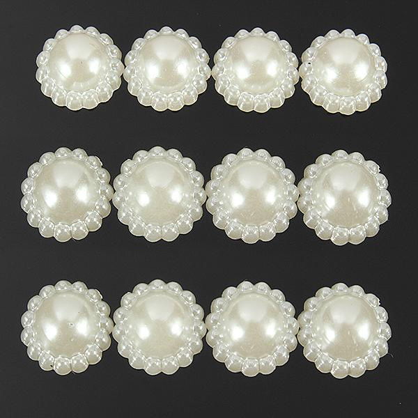 Ivory White Acrylic Pearl Flower Scrap Booking Card Embellishments Women's Clothing