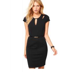 Keyhole Fashion Dress For Women Hollow Bodycon Round Neck Dresses