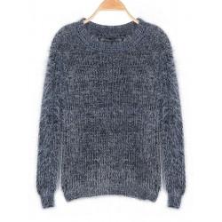 Koreanische Art und Weise Frauen Langarm Mohair Strick Pullover Pullover