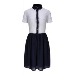 Lace Dress Pleated Shirt Turn-Down Collar Blue Dress