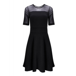 Lace &Mesh Mid-sleeves Pure Color Dress