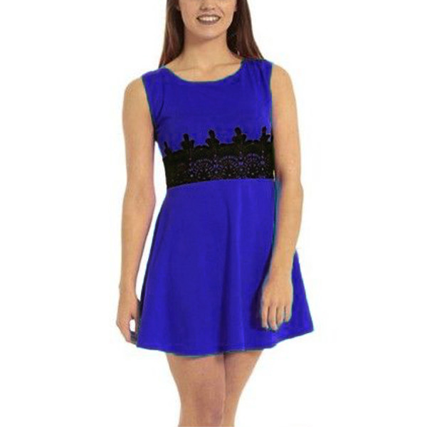 Lace Waist Slim Hit Color Dress Women Sleeveless Skater Dress Women's Clothing