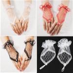 Spitze Handgelenk Fingerhochzeits Abend Partei Braut Handschuhe kurz Kleid Damenbekleidung