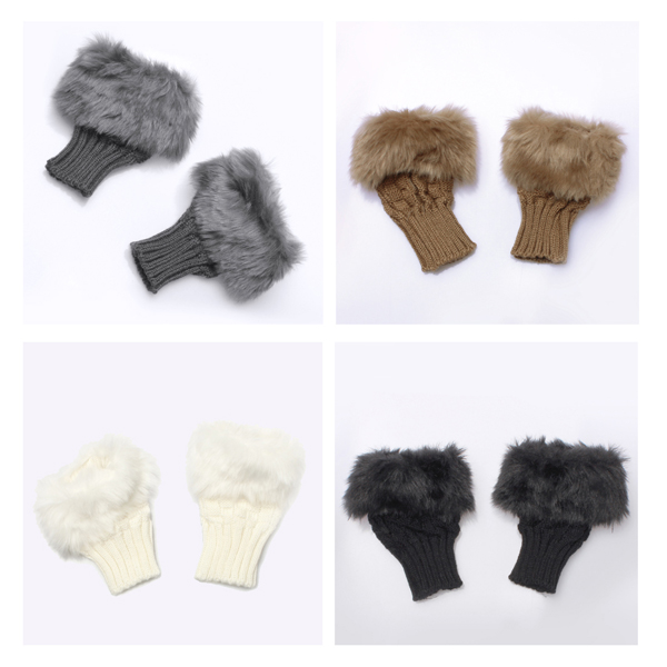Ladies Fur Wrist Winter Warmer Knitted Fingerless Gloves Women's Clothing