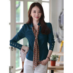 Lady Elegance OL Slim V-neck Single Button Shirt