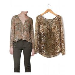 Lady Serpentine Chiffon Bluse mit V Ausschnitt Schlangenleder Taschen Chemise Hemd