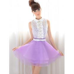 Lapel Splicing Lace Ruffled Pure&White Color Purple Petals Dress
