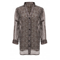 Leopard Long Sleeve Buttons Chiffon Shirt Blouse
