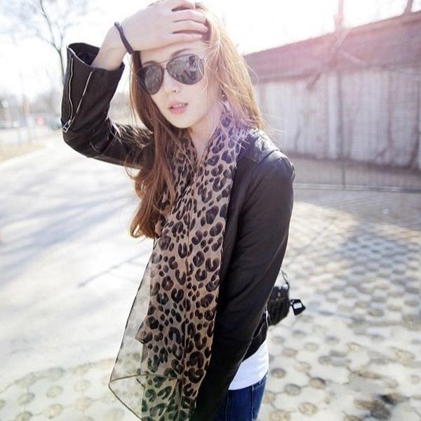 Leopardtryck Brun Extra Stora Lång Sjal Halsduk Damkläder