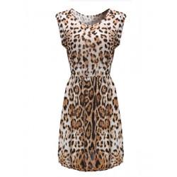 Leopard Trykt Ærmeløs Round Collar Kjole