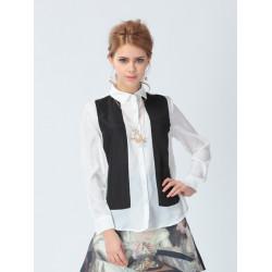 Långärmad Svartvit Spell Färg Chiffong Skjorta