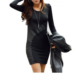 Long Sleeve Casual Slim Mini Dress Women Stitching Leather Dresses