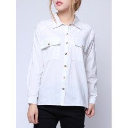 Long Sleeve Solid Color Front Short Back Long Cotton Shirts