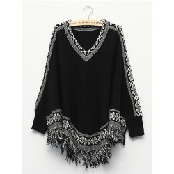 Loose Bat Sleeve Tassel Knitted Pullover Shawl Sweater