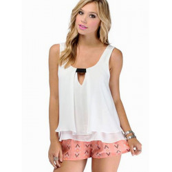 Loose Double Layer V Neck Ærmeløs Chiffon Vest Peplum Tank Tops