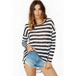 Loose Striped Printed Green Sequins Patchwork T-shirt