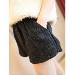 Low Waist Flower Wool Loose Pocket Boot Shorts