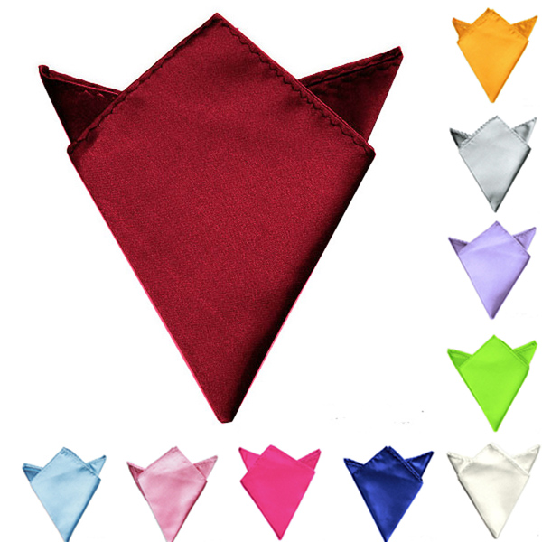 Men Classic Wedding Solid Color Pocket Square Satin Hankerchief Women's Clothing