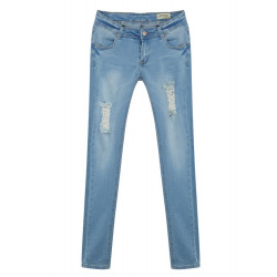 Mid Waist Slim Denim Jeans in Vintage Wash with Rip&Repair