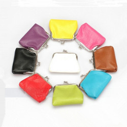 Mini PU Läder Candy Color Key Holder Makeup Coin Bag Small Wallet
