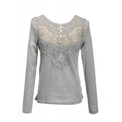 Multi Color Long Sleeve Button Lace T-shirt
