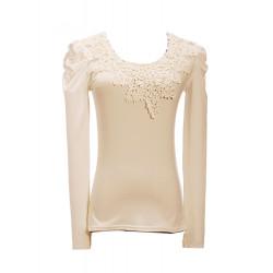 Multi Color Long Sleeve Lace Trim Cotton T-shirt