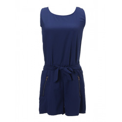 Navy Sleeveless Chiffon Backless Jumpsuits Short Pants