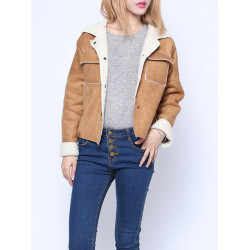 New Fashion Women Suede Lambs Wool Padded Jacket Lapel Coat