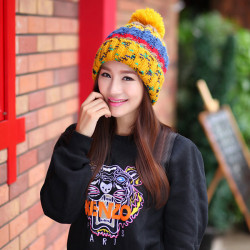 New Fashion Women Winter Hit Color Cap Warm Knitted Wool Hat