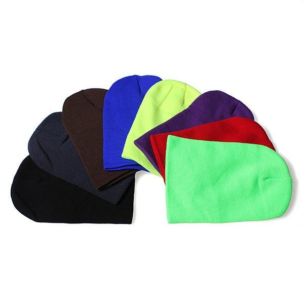 New Män Kvinna Vinter Solid Color Plain Stickad Ski Beanie Hat Damkläder
