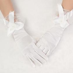 Neue Art Hochzeits Beige Bow Satin Kurzschluss Hochzeits Kleid Handschuhe