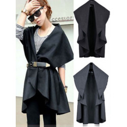 New Turn-down Collar Cape Wool Coat Jacket Outwear Slim Shawl Cardigan
