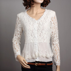 New Women Hollow Out Crochet Lace Knit Blouse V-neck Shirt