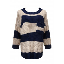 O-neck Striped Baggy Sweater