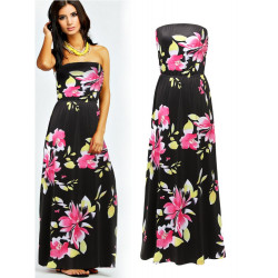 Off Shoulder Printed Floral Elastic Maxi Dresses Women Long Black strapless