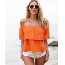Off The Shoulder Ruffle Chiffon Tops For Women