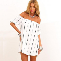 Off The Shoulder Lodret Stribet Casual Kjole Sexy Hvid Og Sort Kjoler