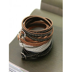 One Piece Läderarmband Bangle Rivet Wrap Cuff