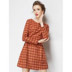 Orange Langarm Rückseite Reißverschluss Hahnentritt Rundhalsausschnitt Kleid