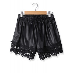 PU elastische Taillen Spitze Dekoration kurze Hosen