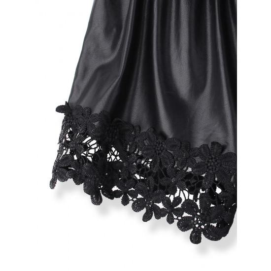 PU Elastisk Midja Lace Dekoration Shorts Byxor 2021